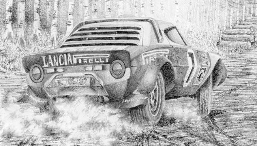Close up of the Lancia Stratos from John's pencil drawing 'Lancia Stratos disturbs the peace'. You can see the smoke and almost hear the roar of the V6 Dino engine as the Lancia slides hard into the cornet just behind the viewer and pauses to straighten before the driver attacks the climbing straight ahead.