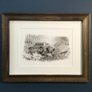 Framed A4 print of JOhn's original 'Lancia Stratos disturbs the peace' pencil artwork.