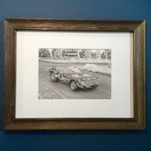 Ferrari Daytona at Le Mans framed A4 print within a polished wood frame.