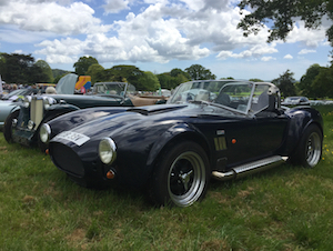 Replica AC Cobra at Classics at Killerton classic car show May 2017.